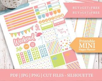 Flamingo Mini Happy Planner, Printable Planner Stickers, Weekly Kit, Flamingo Planner Stickers, Printable Stickers, Cut File