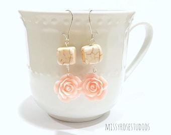 rose drop earrings, pink rose earrings, blush pink earrings, rose earrings dangle, kidney ear wire earrings, boho hippie jewelry, handmade