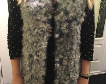 Vest,vest with fleece, wool vest, one of a kind wearable art,wet felted vest