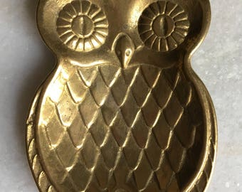 Vintage Solid Brass Owl Decorative Dish.
