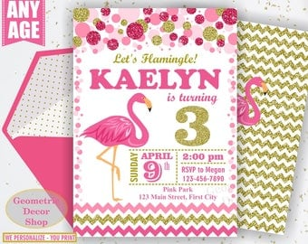 Pink Flamingo Birthday Invitation Girl Gold Invitations Luau Invite Hawaiian Luau Party Invitation Tropical Girls Photo Photograph BDF12