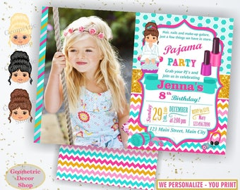 Pajama Birthday invitation, Spa invitations, Sleepover invite, Slumber Party, Pizza Girl pink teal gold aqua Invites photo photograph BDSpa3