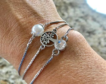 Adjustable antique silver plated pearl, rhinestone, and tree of life bracelets
