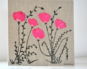poppies, romantic painting on canvas linen, table decor table shabby poppies 20 x 20