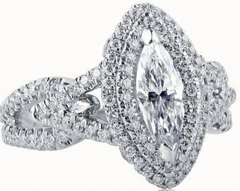 GIA Certified Marquise Cut Diamond Engagement Ring, 1.53 Ct, Natural Diamond Ring, Split Shank Ring, Halo Engagement Ring, 18k White Gold