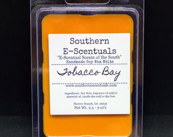 Tobacco Bay, Wax Melt, Wax Tarts, Breakaway Wax Cubes, Wickless Candle, Scented Wax Melt, Gifts under 5, Stocking Stuffer, Father's Day Gift