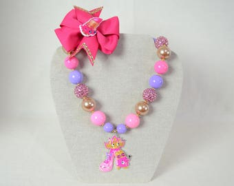Shopkins Alloy Pendant Girl's Chunky Bubblegum Bead Necklace OR Pinwheel Bow Lippy Lips Prommy Tiara