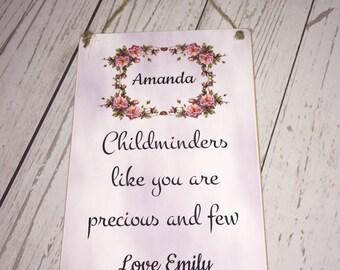 Childminders Personalised Plaque