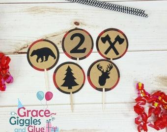 12 Lumberjack Buffalo Plaid themed Cupcake Toppers