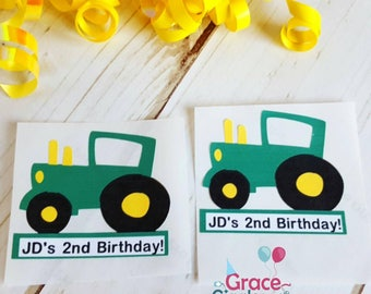 12 (2in) Personalized Tractor Themed Favor Stickers/ Adhesive Party Tags