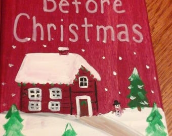 Night before Christmas wooden book with scene inside