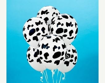 ON SALE 20 COW Print Qualatex Latex Balloons 11 inch Holstein Cow Balloons Farm animal Party