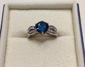 1.5 carat London Blue Topaz Ring, Topaz Engagement Ring, Silver Topaz Ring, London Blue Topaz Ring