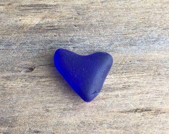 Large Cobalt Sea Glass Heart