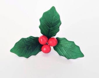 Gumpaste Holly leaves and berries READY TO SHIP for sugar flowers decorations, winter weddings, christmas, yule logs, cake decoration
