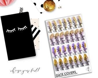 Foiled Date Covers - Purple Brush Stroke