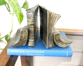 Vintage Book Bookends / Brass bookends / Sleepy Old Books / Cottage Decor