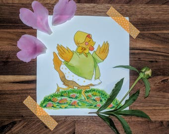Spring Chicken Watercolor Print and Card Set