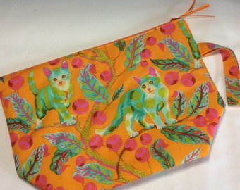 Zippered project bag - kittens