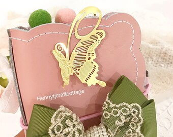 Planner Clip. Cute Pompom paperclips & Gold Metal Flat  Butterfly Page Marker -  Paper Clip | Bookmark | . Planner accessories supply.