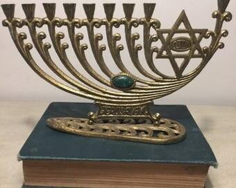 Vintage Brass Menorah by Wainberg Israel Eilat Stone 1950s Hanukkah