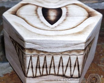 Wooden Mimic Beholder Dice / Trinket Box Dnd D&D Dungeons and Dragons