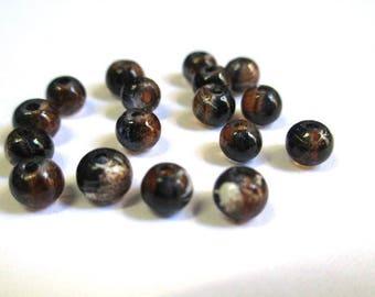 20 black, brown translucent 4mm beads