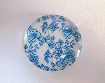 1 blue 25mm (10) flower printed glass cabochons