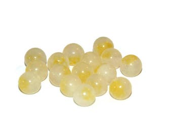 natural white jade and yellow 6mm 10 beads