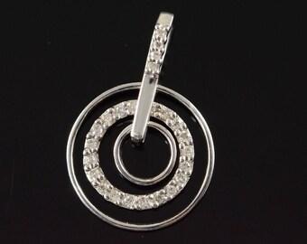 10k 0.10 Ctw Diamond Floating Rings Pendant Gold