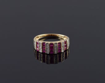 14k 0.63 Ctw Ruby Diamond Channel Set Band Ring Gold