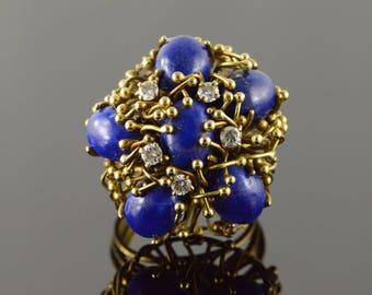 14k Stunning 1.80 CTW Blue Lapis Diamond Cluster Ring Gold