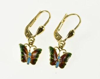 14k Colorful Enamel Butterfly Dangle Lever Back Earrings Gold