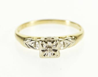 14k Retro Diamond Inset Squared Engagement Style Ring Gold