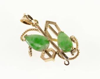 14k Jadeite Pear Cut Ornate Rope Milgrain Geometric Pendant Gold