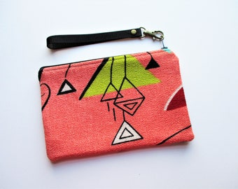 Chartreuse Red Black and White on Salmon Ground Abstract Geometric Barkcloth Fabric Wristlet Makeup Bag Pouch Gift for Her Him Holiday