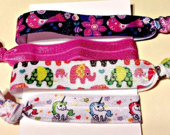 Hair Tie Set,Cute,Collectible Art Hair Ties,Elastic Bracelets, Unicorns, Elephants,Pretty Pink Birds,Cute Critters, Holiday Gift