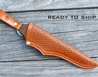 Leather knife sheath; handmade, basketweave stamping, saddle tan - antique effect; knife sheath; custom knife sheath; bushcraft knife sheath