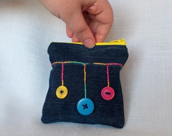 Recycled Jean with Button Bobbles Coin Purse or Small Make Up Bag