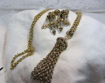 Vintage Gold Tone Tassel Necklace and Matching Tassel Clip Earrings
