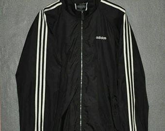 MEGA SALE 30% OFF Vintage Rare 90's Adidas Black X White Stripe Windbreaker  Hip Hop Style Sweatshirt Run Dmc Gangsta Rap Swag Lolife Traine