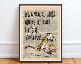 Calvin and Hobbes wall art illustration poster Mock dictionary page print - Digital Download