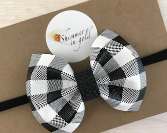 Buffalo Plaid Baby Bows , Black and White Buffalo Plaid Faux Leather Bows , Faux Leather Bows for Baby or Toddler