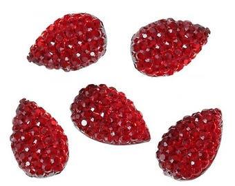 20 cabochons Teardrop red 13 x 8 mm