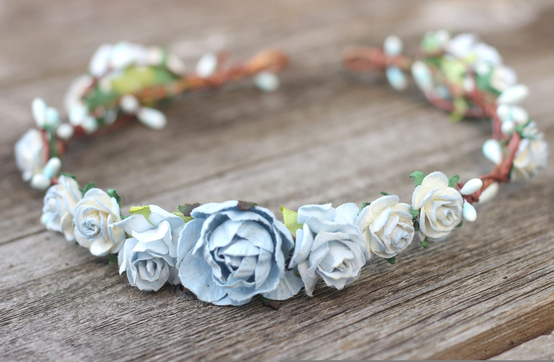 Dusty blue rose wedding flower crown floral crown wedding hair dusty blue rose wedding flower crown floral crown wedding hair crown head wreath izmirmasajfo