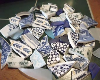 10 Ounces Hand cut Pottery Pieces Tumbled Vintage Glass Mosaic Pieces Shades of Blue Assorted Patterns