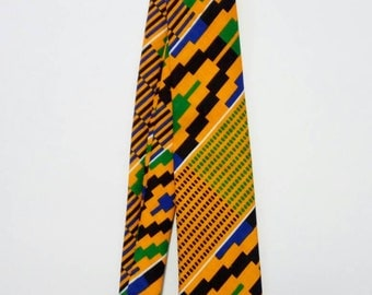 Mens Yellow Green Kente Necktie And Handkerchief, African Print Pocket Square, Wedding Groomsmen Favour Gift