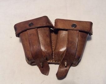 Vintage Mosin-Nagant Brown Leather Ammunition Pouch