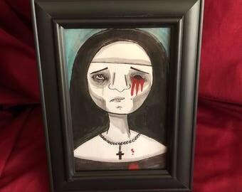 Creepy nun drawing framed original old painting