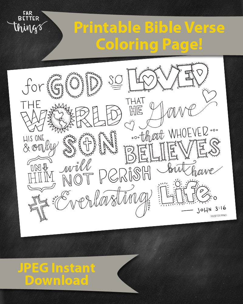 for god so loved the world coloring page - bible verse coloring page john 3 16 printable